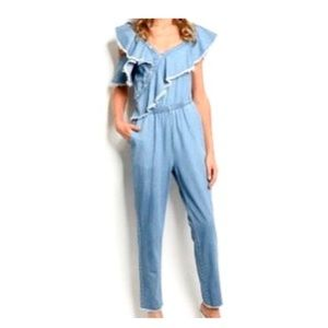 Signature8 Ruffle Collar Chambray Jumpsuit